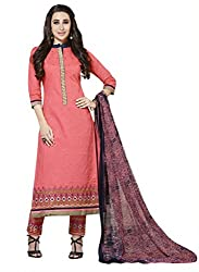 Rivafab Karishma Kapoor Pink Pure Cotton Cambric Straight Cut Dress Material.