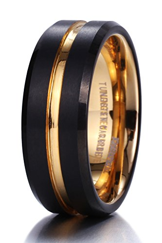 King Will Mens 8mm Black Matte Finish Tungsten Carbide Ring 18K Gold Plated Beveled Edge Wedding Band(10) (Black Platinum Ring compare prices)