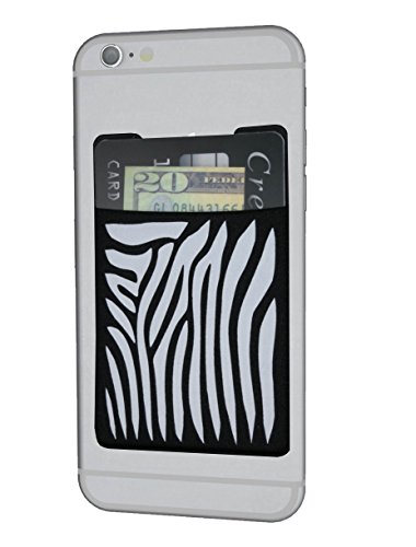 CardNinja Ultra-slim Self Adhesive Credit Card Wallet for Smartphones, Black with Zebra