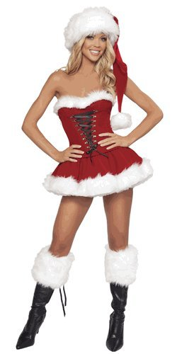 Musotica Women's J. Valentine Christmas Party Santa 2-Piece Corset Set