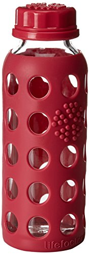Lifefactory 9-Ounce BPA-Free Kids Glass Water Bottle with Flat Cap and Circle Patterned Silicone Sleeve, Raspberry