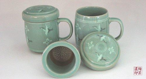 2 Celadon Glaze Crane Bird Cloud Design Personal Green Ceramic Pottery Porcelain Loose Leaf Tea Steeping Brew Mesh Infuser Strainer Filter Cup Mug Teacup Lid Gift Set