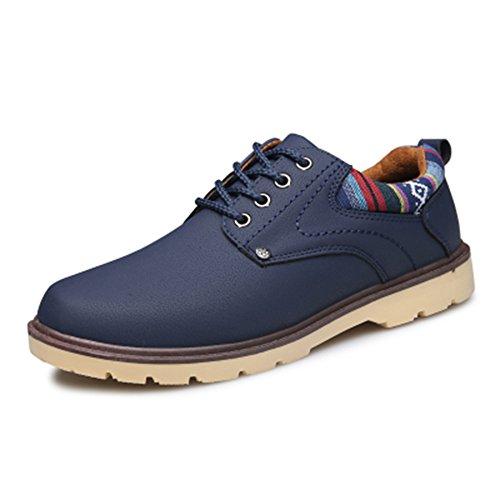Men's Fashion Spritech (TM)-Comfort, antiscivolo, punta rotonda, Scarpe da lavoro a Martin, Piatto, blu, US:8