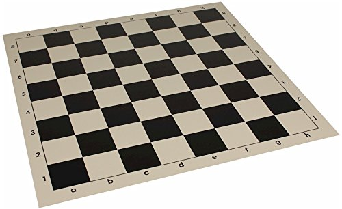 "Club Vinyl Rollup Chess Board Black & Buff - 2.25"" Squares"