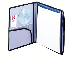 Smead Poly Deluxe Pad Folios, Letter Size, Silver/Black (85881)