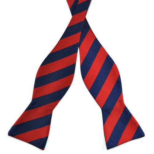 Pensee Mens Self Bow Tie Dark Blue and Red Stripe Jacquard Woven Silk Bow Ties (Mens Bow Ties Self Tie compare prices)