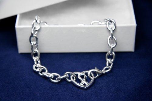 Silver Ribbon Bracelet-Chunky Bracelet w/ Ribbon Inside Heart Charm (18 Bracelets)