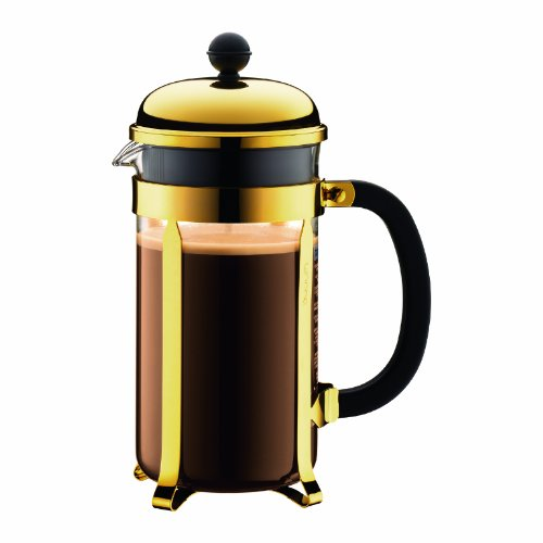 Bodum Chambord 1-Liter 8-Cup Coffee Maker, 34-Ounce, Gold