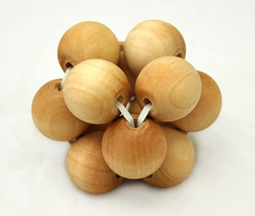 Intuitoys Montessori Inspired All Natural Wooden Baby Rattle Variety Set of 3 Rattles (Handmade in Usa)