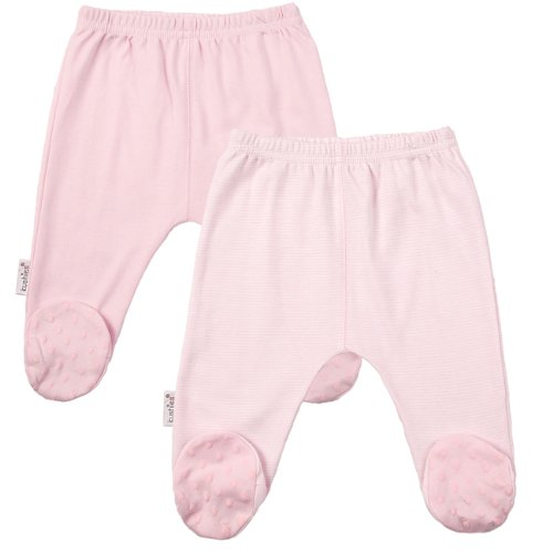 Kushies Everyday Layette 2 Pack Footed Pant (Pink) - Preemie front-11022