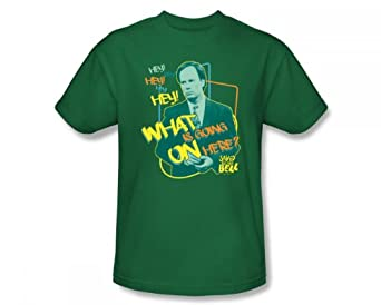 Buy Saved By The Bell - Mr. Belding Slim Fit Adult T-Shirt In Kelly Green by Saved The Bell