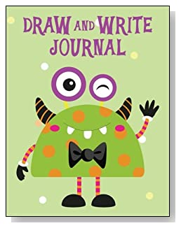 Draw and Write Journal For Kids - A colorful and cute green monster makes a cute cover for this draw and write journal for younger kids.