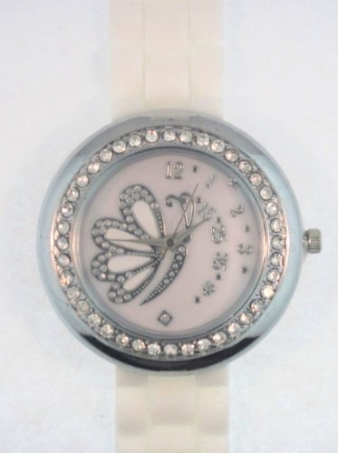 White Silicone Rubber Watch Link Look Ceramic Style Large Mother-Of-Pearl Butterfly Face Crystal Bezel