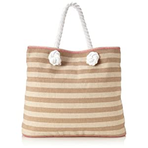 Echo Design Women's Striped Beach Tote, Khaki, One Size