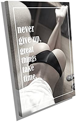 Fitness Motivation Posters Inspiration Quotes on Canvas Wall Hangings Decals Workout Bodybuilding Poster Wood Framed Waterproof size 12x18 inches CGmO50