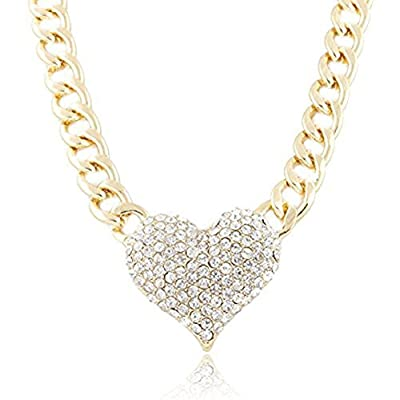 Doinshop Ladies 3d Heart Pendant Chain Necklace with a 16 Inch Adjustable Link Jewelry