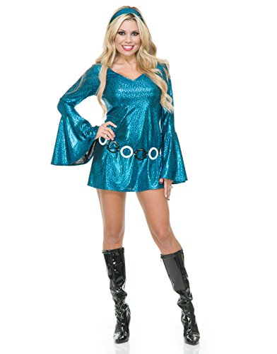 Womens Teal And Black Disco Diva Short Skirt Dress 70's Dance Costume