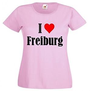 """T-Shirt """"I Love Freiburg"""" für Damen Herren und Kinder in Pink"""