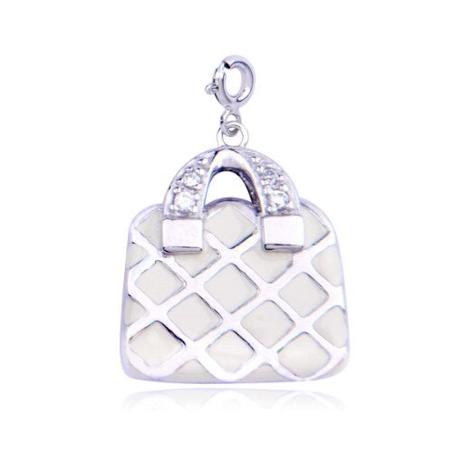 Platinum Plated Sterling Silver Cubic Zirconia Hand bag Charm