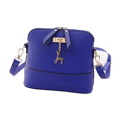 Borsa Familizo Elegant Nuovo Donne Messenger Borse Vintage Piccolo Shell borsetta di pelle casual Borsa (Blu)