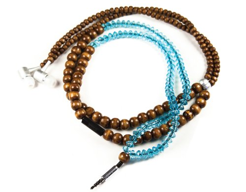 Handcandy Hf001Bt The Yogi Dunetunes Stereo Headphone Necklace, Natural Wood Brown/Clear Facet Blue