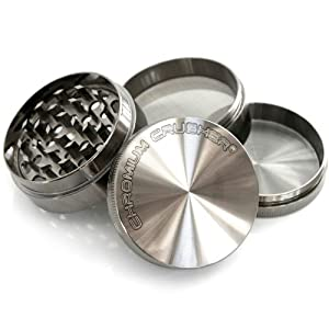 Chromium Crusher Zinc Tobacco Spice Herb 2.2 Inch 4 Piece Grinder in Metal Color