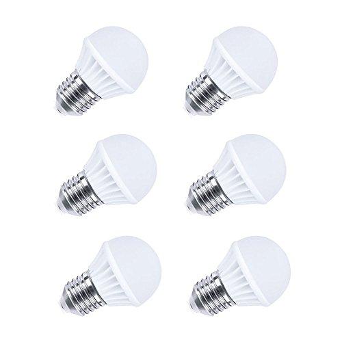 Ljy 6Pcs Pack E27 3W 210Lm Globe Led Mini Ball Bulbs Energy Saving Lamps Ac100-240V (White)