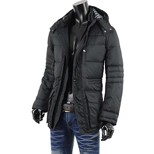 ダウンジャケット メンズ ダウンコート ジャケット コート 暖か 黒 ブラック フード 防寒 V270820-05 ブラック L