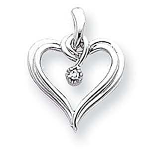 IceCarats Designer Jewelry 14K White Gold Aa Diamond Heart Pendant