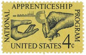 #1201 - 1962 4c Apprenticeship Act Postage Stamp Numbered Plate Block (4)