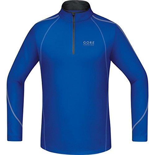 GORE RUNNING WEAR, Maglia Corsa Uomo, Maniche lunghe, Termica, GORE Selected Fabrics, ESSENTIAL Zip long, Taglia L, Blu, SSMESS606505