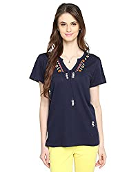 Bedazzle Casual Short Sleeve Embroidered Women's Blue Top