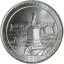 America The Beautiful Quarters 2011 P & D Gettysburg in Pennsylvania National...