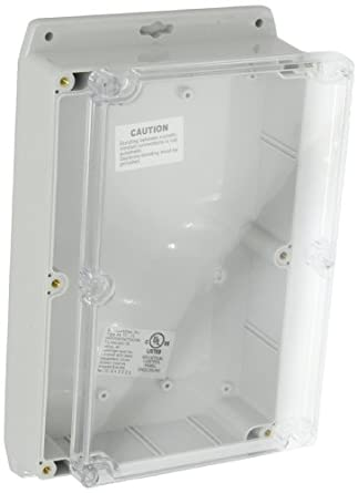 "BUD Industries PN-1325-CMB Polycarbonate NEMA 4X Box with Mounting Bracket and Clear Cover, 8-47/64"" Length x 5-3/4"" Width x 2-5/32"" Height, Light Gray Finish"