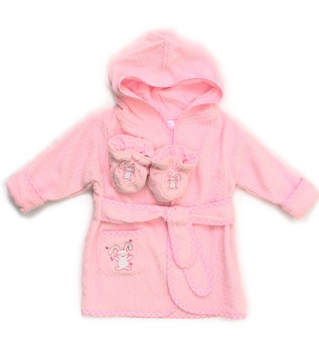 Spasilk 100% Cotton Hooded Terry Bathrobe With Booties, Pink Bunny, 0-6 Months front-519869