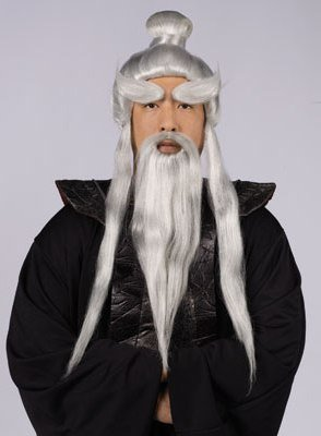 New Adult Mens Japanese Ninja Sensei Master Wig