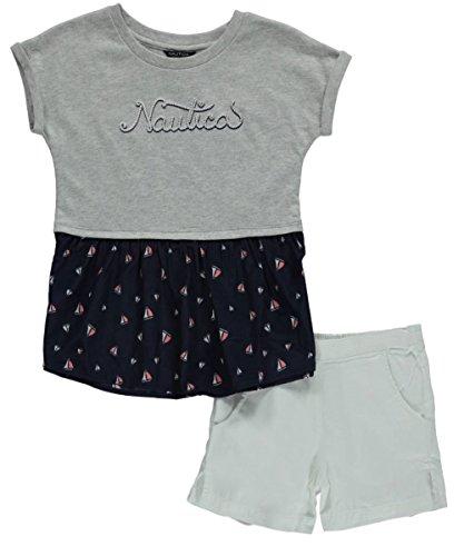 "Nautica Little Girls' ""Sailboat Flounce"" 2-Piece Outfit - light gray heather, 5"