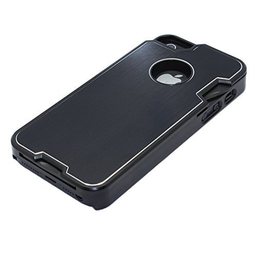 Fashion Design Metal Black Skin Cover with Knife case for iphone 5/5s + 1 Camping Multifunctional knife (black)