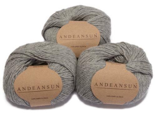AndeanSun -100% Baby Alpaca Yarn Skeins - Set of 3 - Luxuriously soft