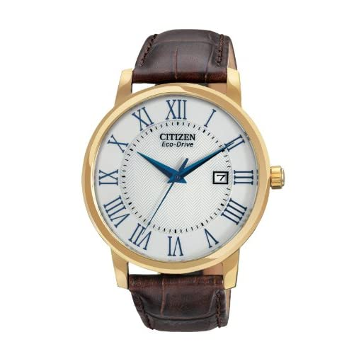Citizen-Mens-Quartz-Watch-with-White-Dial-Analogue-Display-and-Brown-Leather-St
