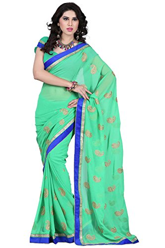 An-Ethnic-Affair-Green-Chiffon-Traditional-Wear-Sarees-With-Blouse-Piece-9297GreenFreeSize