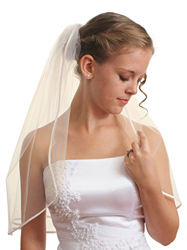SparklyCrystal 1T 1 Tier Pencil Edge Bridal Wedding Veil - Ivory Shoulder Length 25