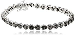 10k White Gold Black Diamond Flower Bracelet (3 cttw)