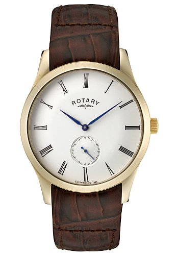 Rotary Men's Cream Dial Shiny Brown Leather