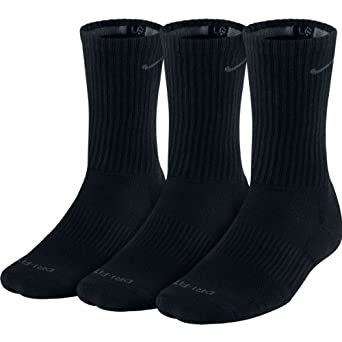 Nike Crew Cut Socks 3 pack (Large (Fits mens shoe size 8-12), Black)