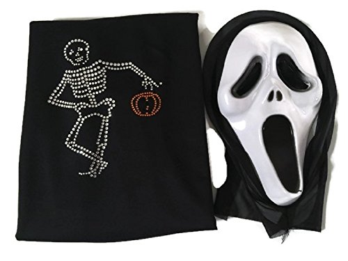 Scream Movie Halloween Costume Ghost Face Scary Mask Cape w/ Rhinestone Skeleton