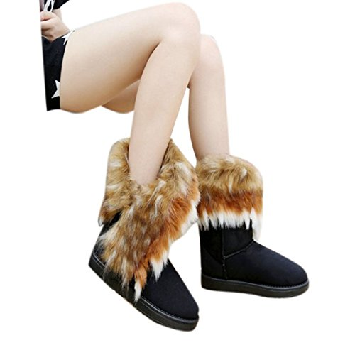 TOOPOOT(TM) Women Winter Warm Snow Ankle Boot Faux Fox Rabbit Fur Tassel Shoes (40, Black)