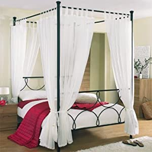 Tab top voile 4 poster bed curtain set includes 8 voile panels and 4 tie backs set in white - Four poster bed curtains ...