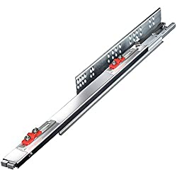 King Slide Telescopic Drawer Channel Slide Silent Soft Closing for WIREBASKET Stainless steel strip SCREWLESS pullout Bottom undermount quadro tandem runner type Galvanized Finish 500mm 20 inches BULK PACK OF FOUR PAIRS