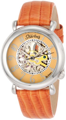Stuhrling Original Women's 108.1215F58 Classic Metropolis Wall Street Automatic Skeleton Orange Watch